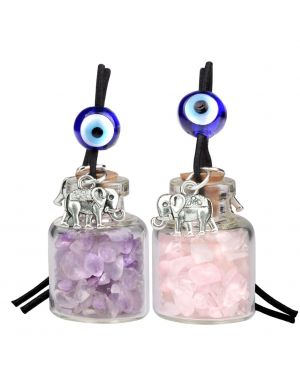 Lucky Elephants Magic Small Car Charms Home Decor Bottles Amethyst Rose Quartz Protection Amulets