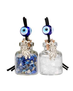 Fortune Fish Small Car Charms Home Decor Gem Bottles Crystal Quartz Lapis Lazuli Protection Amulets