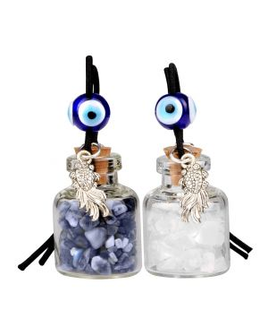 Fortune Fish Small Car Charms Home Decor Gem Bottles Crystal Quartz Sodalite Protection Amulets