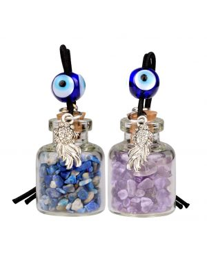 Fortune Fish Small Car Charms Home Decor Gem Bottles Amethyst Lapis Lazuli Protection Amulets