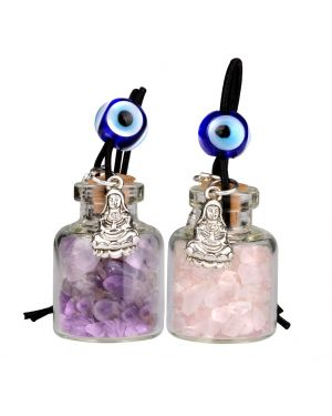 Kwan Yin Quan Small Car Charms Home Decor Gem Bottles Amethyst Rose Quartz Protection Amulets