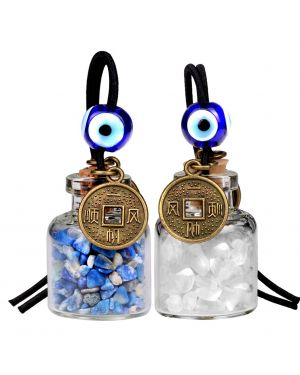 Lucky Coins Magic Small Car Charms Home Decor Gem Bottles Quartz Lapis Lazuli Protection Amulets