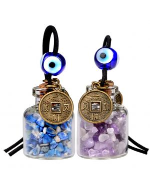 Lucky Coins Magic Small Car Charms Home Decor Gem Bottles Amethyst Lapis Lazuli Protection Amulets