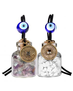 Lucky Coins Magic Small Car Charms Home Decor Gem Bottles Fluorite White Howlite Protection Amulets