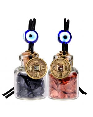 Lucky Coins Magic Small Car Charms Home Decor Gem Bottles Blue Red Goldstone Protection Amulets