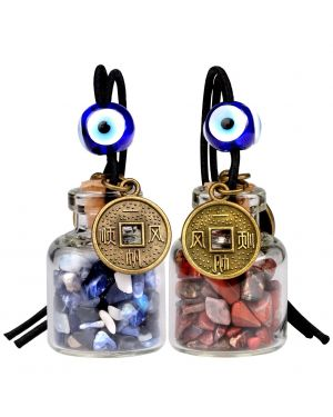 Lucky Coins Magic Small Car Charms Home Decor Gem Bottle Sodalite Brecciated Jasper Amulets