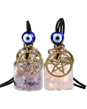 Star Magic Pentacle Small Car Charms Home Decor Gem Bottles Amethyst Rose Quartz Protection Amulets