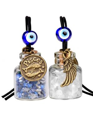 Zodiac Pisces Angel Wings Small Car Charm Home Decor Bottles Lapis Lazuli Quartz Birthstone Amulets