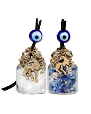 Unicorn Small Car Charms or Home Decor Gem Bottles Crystal Quartz Lapis Lazuli Protection Amulets