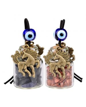 Unicorn Small Car Charms or Home Decor Gem Bottles Blue and Red Goldstone Protection Amulets