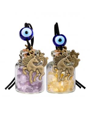 Unicorn Small Car Charms or Home Decor Gem Bottles Amethyst and Citrine Protection Amulets