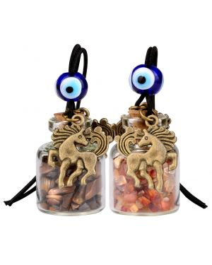 Unicorn Small Car Charms or Home Decor Gem Bottles Tiger Eye and Carnelian Protection Amulets