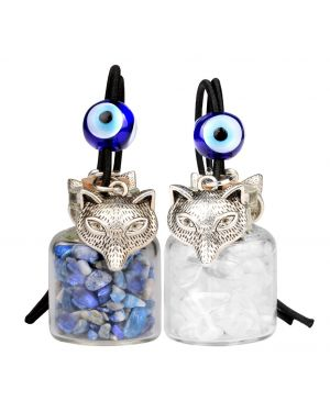 Courage Wolf Small Car Charms Home Decor Gem Bottles Crystal Quartz Lapis Lazuli Protection Amulets