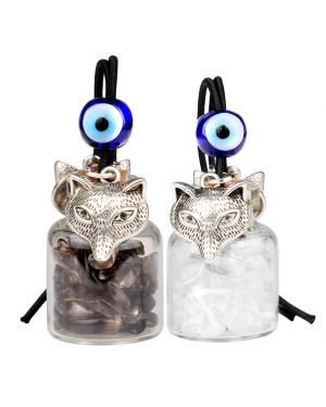 Courage Wolf Small Car Charms or Home Decor Gem Bottles Crystal and Smoky Quartz Protection Amulets
