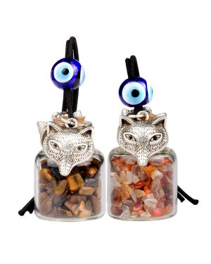Courage Wolf Small Car Charms or Home Decor Gem Bottles Tiger Eye and Carnelain Protection Amulets