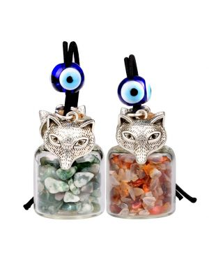 Courage Wolf Small Car Charms Home Decor Gem Bottles Green Moss Agate Carnelain Protection Amulets