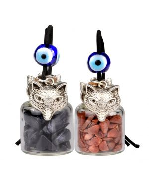 Courage Wolf Small Car Charms or Home Decor Gem Bottles Blue and Red Goldstone Protection Amulets