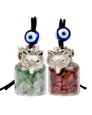 Courage Wolf Small Car Charms Home Decor Gem Bottles Green Quartz Red Jasper Protection Amulets