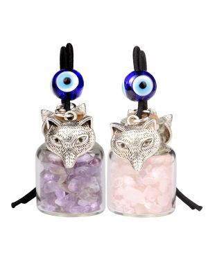 Courage Wolf Small Car Charms or Home Decor Gem Bottles Amethyst and Rose Quartz Protection Amulets