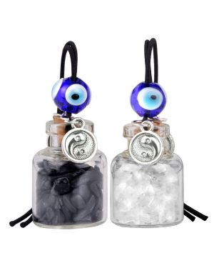 Balance Yin Yang Small Car Charms or Home Decor Bottles Quartz Black Obsidian Protection Amulets