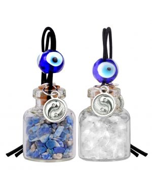 Balance Yin Yang Small Car Charms or Home Decor Gem Bottles Quartz Lapis Lazuli Protection Amulets