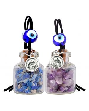 Balance Yin Yang Small Car Charms or Home Decor Bottles Amethyst Lapis Lazuli Protection Amulets