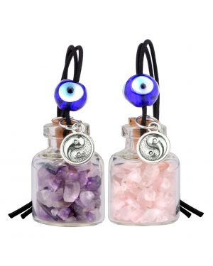 Balance Yin Yang Small Car Charms or Home Decor Gem Bottles Amethyst Rose Quartz Protection Amulets