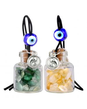 Balance Yin Yang Small Car Charms or Home Decor Gem Bottles Green Quartz Citrine Protection Amulets