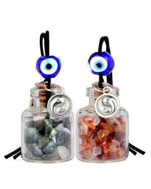 Balance Yin Yang Small Car Charms Home Decor Bottles Carnelian Green Moss Agate Protection Amulets