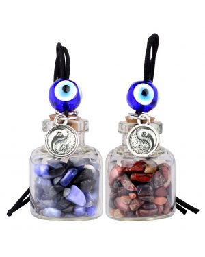 Balance Yin Yang Small Car Charms or Home Decor Gem Bottles Sodalite Brecciated Jasper Amulets