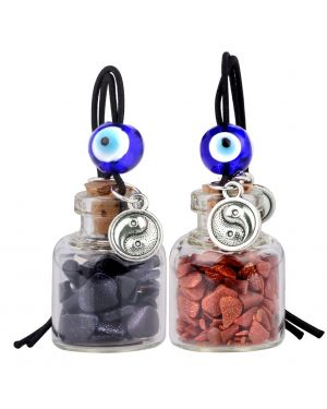 Balance Yin Yang Small Car Charms or Home Decor Gem Bottles Blue Red Goldstone Protection Amulets