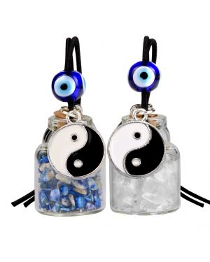 Yin Yang Balance Small Car Charms or Home Decor Gem Bottles Quartz Lapis Lazuli Protection Amulets