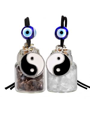 Yin Yang Balance Small Car Charms or Home Decor Gem Bottles Smoky Crystal Quartz Protection Amulets