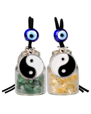 Yin Yang Balance Small Car Charms or Home Decor Gem Bottles Green Quartz Citrine Protection Amulets