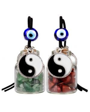Yin Yang Balance Small Car Charms or Home Decor Bottles Green Quartz Red Jasper Protection Amulets