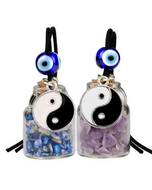 Yin Yang Balance Small Car Charms or Home Decor Bottles Amethyst Lapis Lazuli Protection Amulets