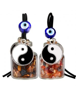 Yin Yang Balance Small Car Charms or Home Decor Gem Bottles Carnelian Tiger Eye Protection Amulets