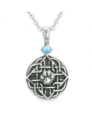Amulet Celtic Shield Knot Baby Wolf or Cat Paw Simulated Turquoise Protection Pendant Necklace