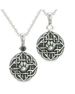 Amulets Love Couple or Best Friends Celtic Wolf Paw Set Simulated Onyx White Cats Eye Necklaces