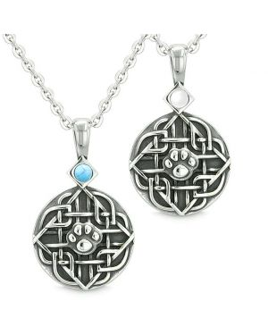 Amulets Love Couples Best Friends Celtic Wolf Paw Set Simulated Turquoise White Cats Eye Necklaces