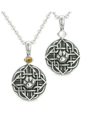 Amulets Love Couple or Best Friends Celtic Wolf Paw Set Tiger Eye and White Cats Eye Necklaces