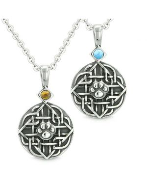 Amulets Love Couple or Best Friends Celtic Wolf Paw Set Tiger Eye and Simulated Turquoise Necklaces