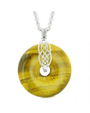 Celtic Shield Knot Protection Magic Powers Amulet Tiger Eye Lucky Donut Pendant 22 Inch Necklace