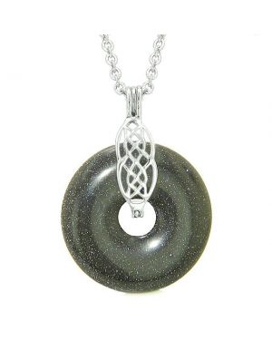 Celtic Shield Knot Protection Magic Powers Amulet Blue Goldstone Lucky Donut Pendant Necklace