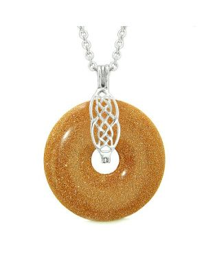 Celtic Shield Knot Protection Magic Powers Amulet Red Goldstone Lucky Donut Pendant Necklace