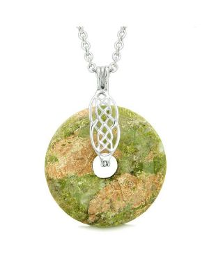 Celtic Shield Knot Protection Magic Powers Amulet Unakite Lucky Donut Pendant 18 Inch Necklace