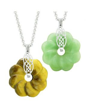 Yin Yang Celtic Shield Knot Flower Amulets Couples Best Friends Tiger Eye Green Quartz Necklaces