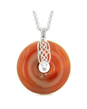 Celtic Shield Knot Protection Magic Powers Amulet Carnelian Lucky Donut Pendant 22 Inch Necklace