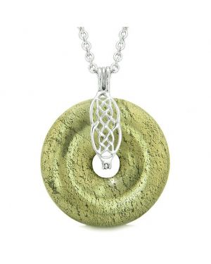 Celtic Shield Knot Protection Magic Powers Amulet Pyrite Iron Lucky Donut Pendant 18 Inch Necklace