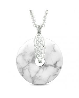 Celtic Shield Knot Protection Magic Powers Amulet White Howlite Lucky Donut Pendant Necklace